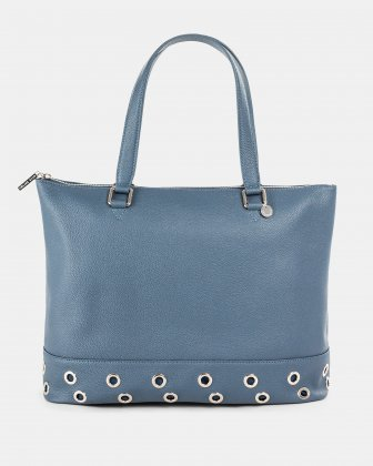 FALSETTO - LEATHER TOTE BAG WITH RFID PROTECTION - denim Céline Dion