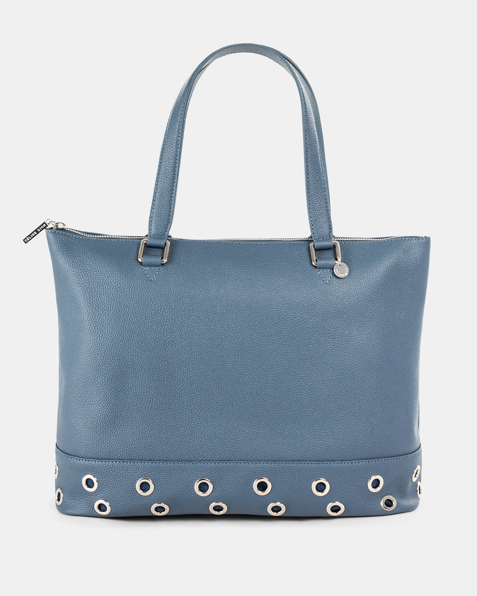 FALSETTO - LEATHER TOTE BAG WITH RFID PROTECTION - denim - Céline Dion - Zoom