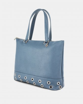 FALSETTO - LEATHER TOTE BAG WITH RFID PROTECTION - denim - Céline Dion