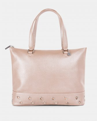 FALSETTO - LEATHER TOTE BAG WITH RFID PROTECTION - rosegold Céline Dion