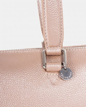 FALSETTO - LEATHER TOTE BAG WITH RFID PROTECTION - rosegold - Céline Dion