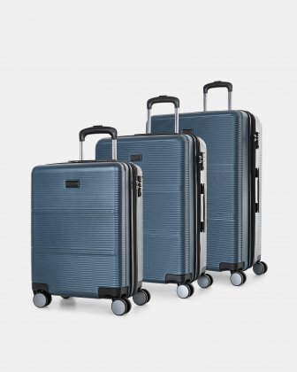 BRUSSELS - HARDSIDE 3-PCS SET IN RESISTANT ABS - Steel Blue Bugatti