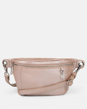 FALSETTO - LEATHER MONEY BELT with RFID protection - Rosegold Céline Dion