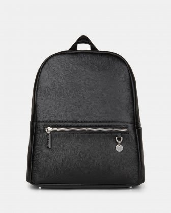 FALSETTO - LEATHER BACKPACK with RFID protection - BLACK Céline Dion