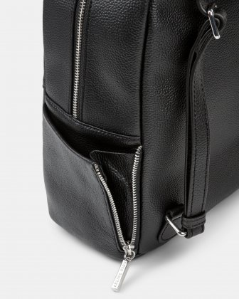 FALSETTO - LEATHER BACKPACK with RFID protection - BLACK - Céline Dion