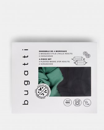 BUGATTI - 2 ANTIMICRODIAL MASKS (2 PLY) WITH 2 SCRUNCHIES - BLACK/TEAL - Bugatti