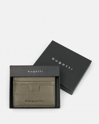 BUGATTI - LEATHER CARD CASE WITH ANTI-THEFT PROTECTION - KHAKI Bugatti
