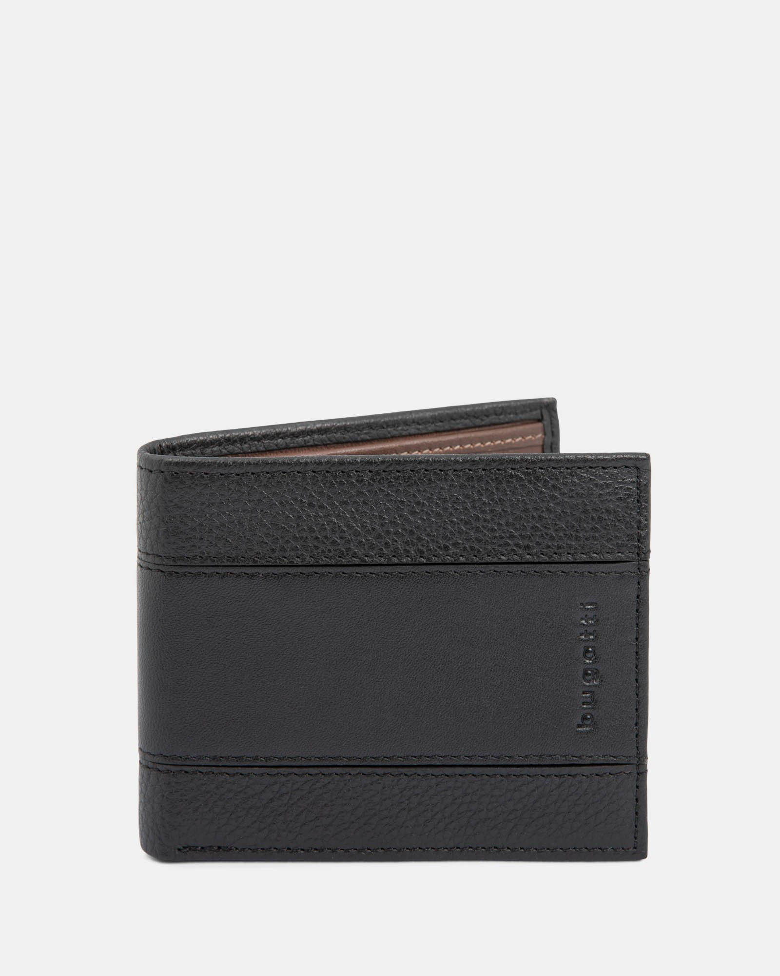BUGATTI - LEATHER WALLET WITH RFID PROTECTION AND ID WINDOW – BLACK - Bugatti - Zoom