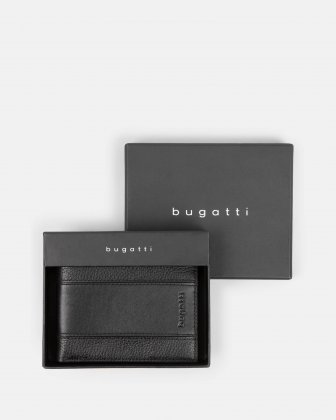 BUGATTI - LEATHER WALLET WITH RFID PROTECTION AND ID WINDOW – BLACK Bugatti