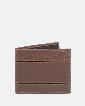 BUGATTI - LEATHER WALLET WITH RFID PROTECTION AND ID WINDOW – BROWN Bugatti