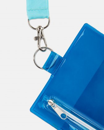 "BONDSTREET - PROTECTIVE CLEAR POUCH ON A STRING - 4.5"" X 5.5"" - BLUE Bondstreet"