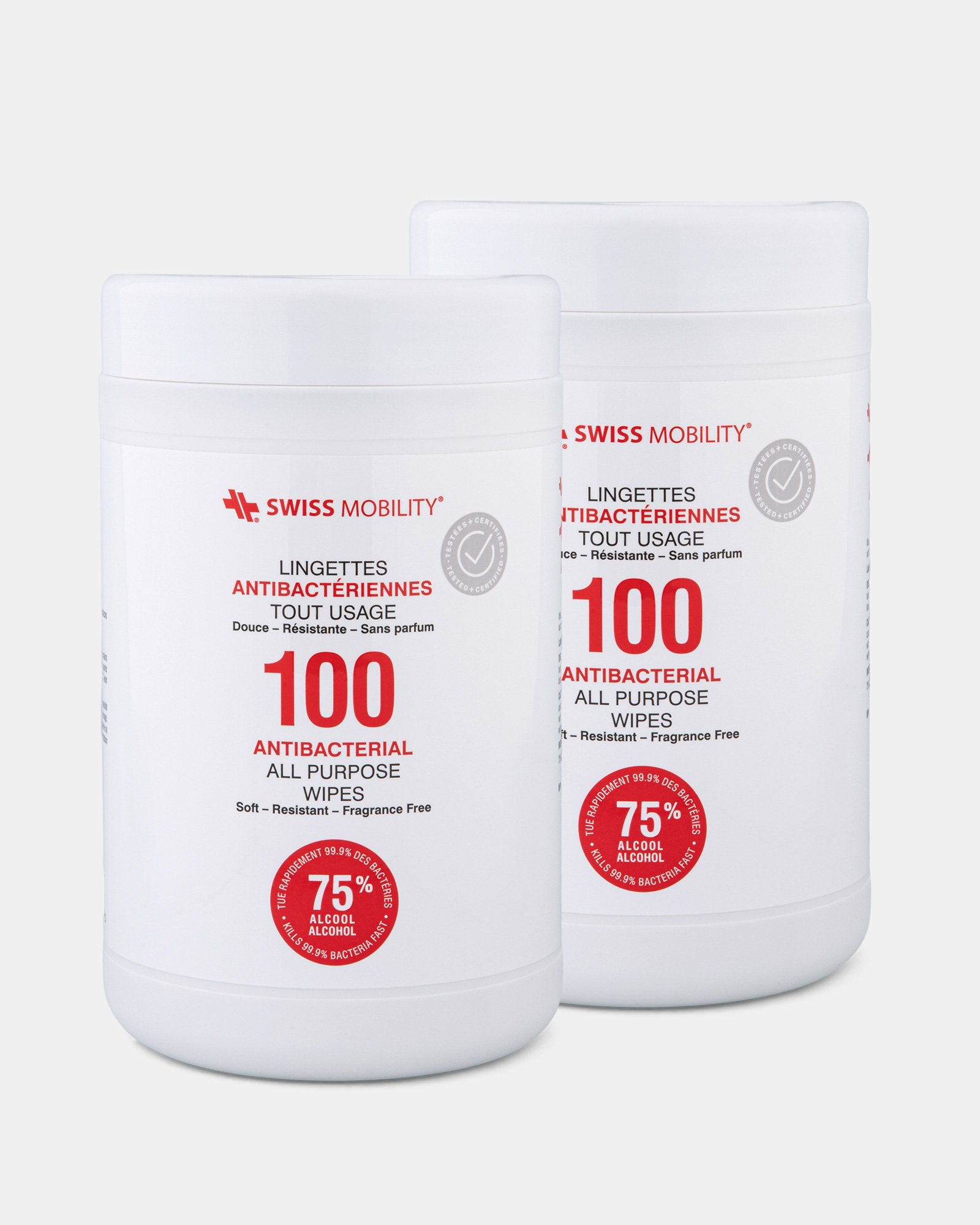 Swiss Mobility - Pack of 2 Canister of 100 Antibacterial wipes  -  75% alcohol, 25% water  - Swiss Mobility - Zoom