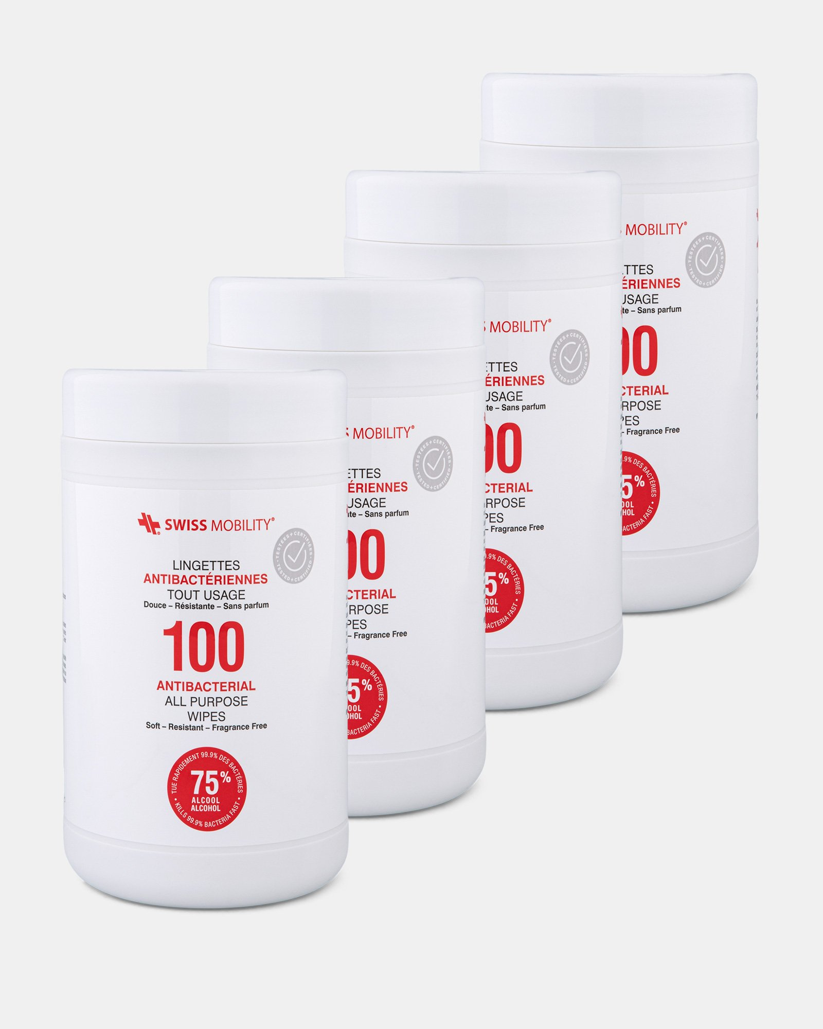 Swiss Mobility - Pack of 4 Canister of 100 Antibacterial wipes  -  75% alcohol, 25% water  - Swiss Mobility - Zoom