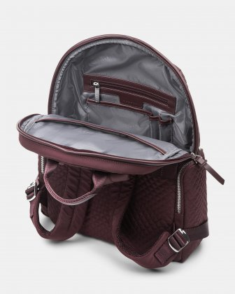 Bugatti - Quilted nylon backpack with leather trims - Burgundy Bugatti