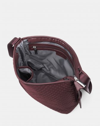 Bugatti - Quilted Nylon Crossbody Shoulder Bag - Burgundy Bugatti