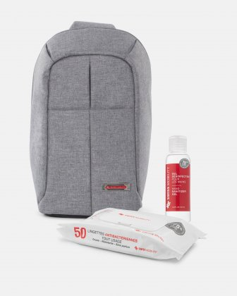 STERLING – TABLET SLING BAG WITH ADJUSTABLE SHOULDER STRAP WITH WIPES AND SANITIZER GEL KIT- GREY Swiss Mobility