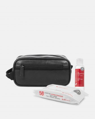 PPE KIT : TOILETRY KIT + 50 WIPES + GEL SANITIZER 100 ML - BLACK Bugatti