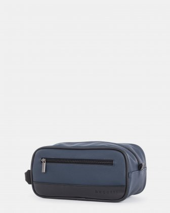GIN & TWILL - TOILETRY CASE WITH TOP ZIPPER CLOSURE WITH WIPES AND SANITIZER GEL KIT - NAVY Bugatti