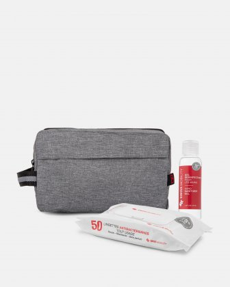 BONDSTREET - LARGE PENCIL/CABLE CASE WITH SIDE HANDLE WITH WIPES AND SANITIZER GEL KIT - GREY Bondstreet
