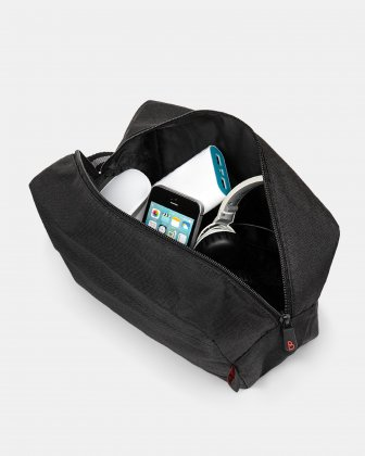 BONDSTREET - LARGE PENCIL/CABLE CASE WITH SIDE HANDLE WITH WIPES AND SANITIZER GEL KIT - BLACK Bondstreet