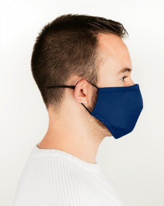 SWISS MOBILITY - 2 WASHABLE MASKS (3 PLY) + 2 (PM2.5) FILTERS ADULT SIZE - ROYAL/BLUE - Swiss Mobility
