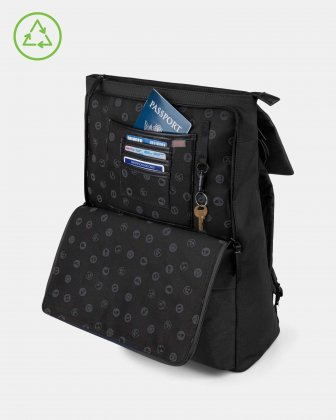 Bugatti – Reborn Collection – Lightweight Backpack – Made of 100% Recycled Material - BLACK Bugatti