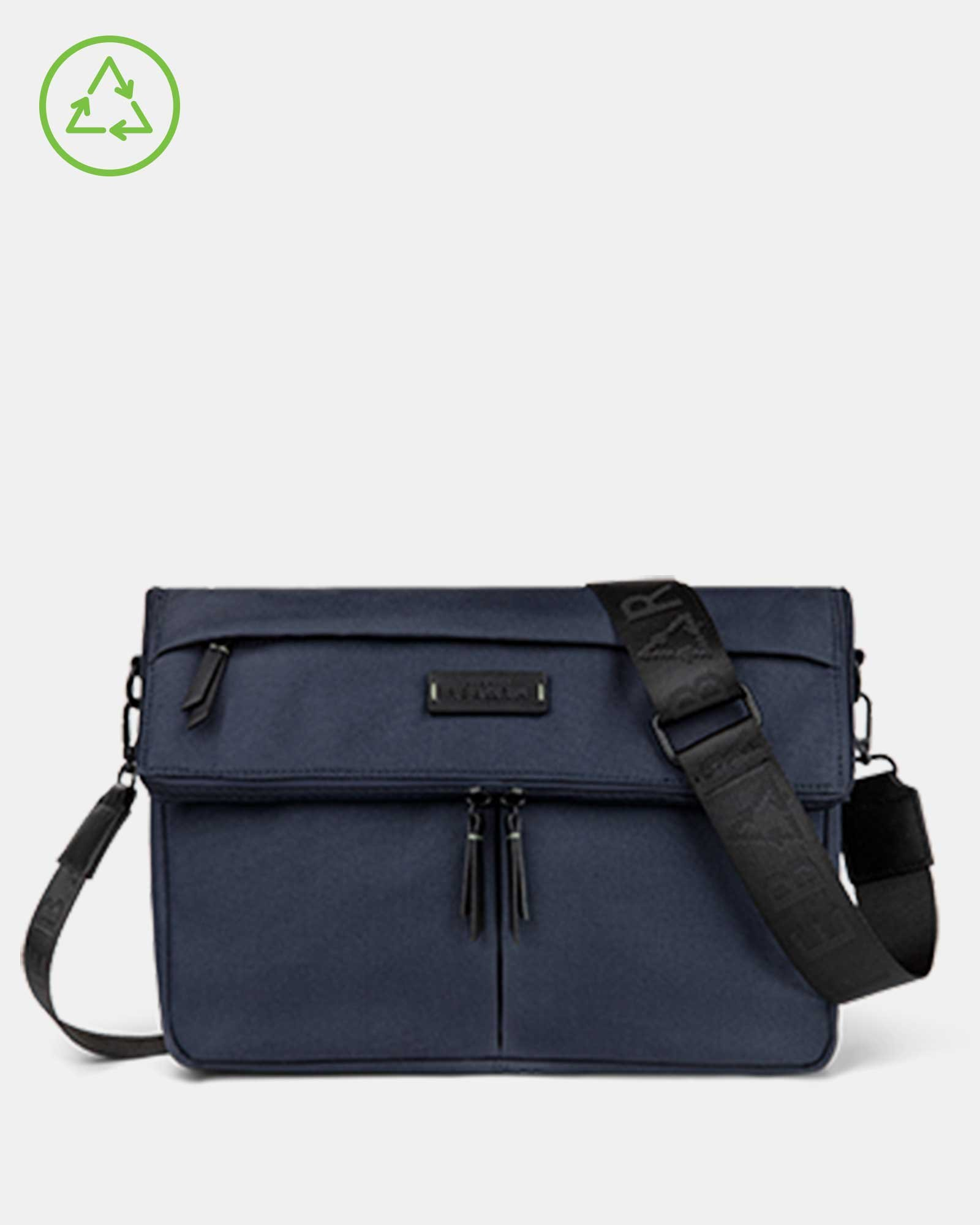 Bugatti – Reborn Collection – Convertible Crossbody/Waist Bag – Made of 100% Recycled Material - Navy - Bugatti - Zoom