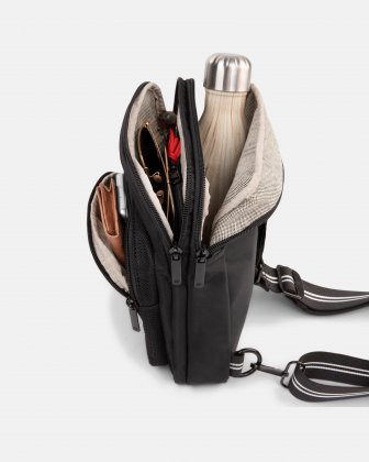 MOUFLON - ANDROMEDA SLING BAG WITH ADJUSTABLE WEBBED STRAP - BLACK Mouflon