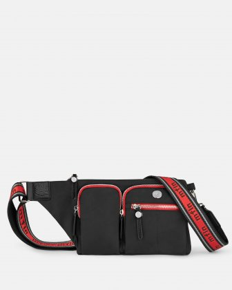 MOUFLON - AUGUSTA MULTI POCKETS SLING BAG IN RECYCLE NYLON - BLACK Mouflon