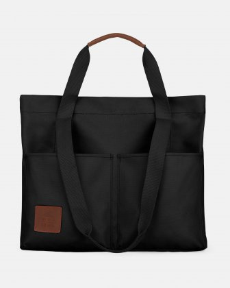 MOUFLON - MONARCH  TOTE/SHOPPER IN COATED CANVAS & LEATHER TRIMS - BLACK Mouflon