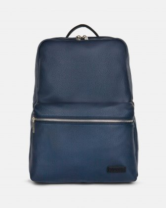 "CONTRAST - VEGAN LEATHER BACKPACK WITH PADDED LAPTOP SECTION - FITS MOST 14"" - NAVY Bugatti"