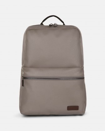 """CONTRAST - VEGAN LEATHER BACKPACK WITH PADDED LAPTOP SECTION - FITS MOST 14"""" - GREY Bugatti"""