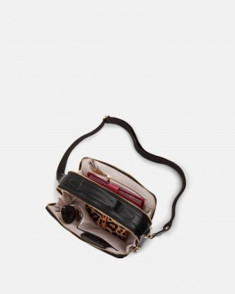 Soho - Crossbody with Two main openings with zippered closures - Black Bugatti