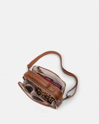 Soho - Crossbody with Two main openings with zippered closures - tan Bugatti