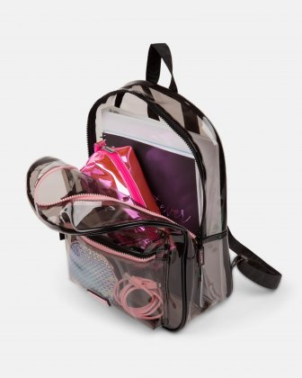 Blackpink - Clearly You Collection - black-tinted see-through backpack with pink zippers - BLACK - BLACKPINK