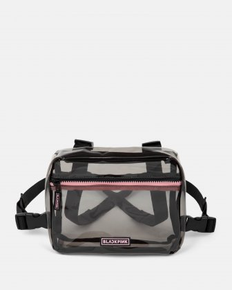 Blackpink - Clearly You Collection - black-tinted see-through frontal crossbody with a pink zipper - black BLACKPINK
