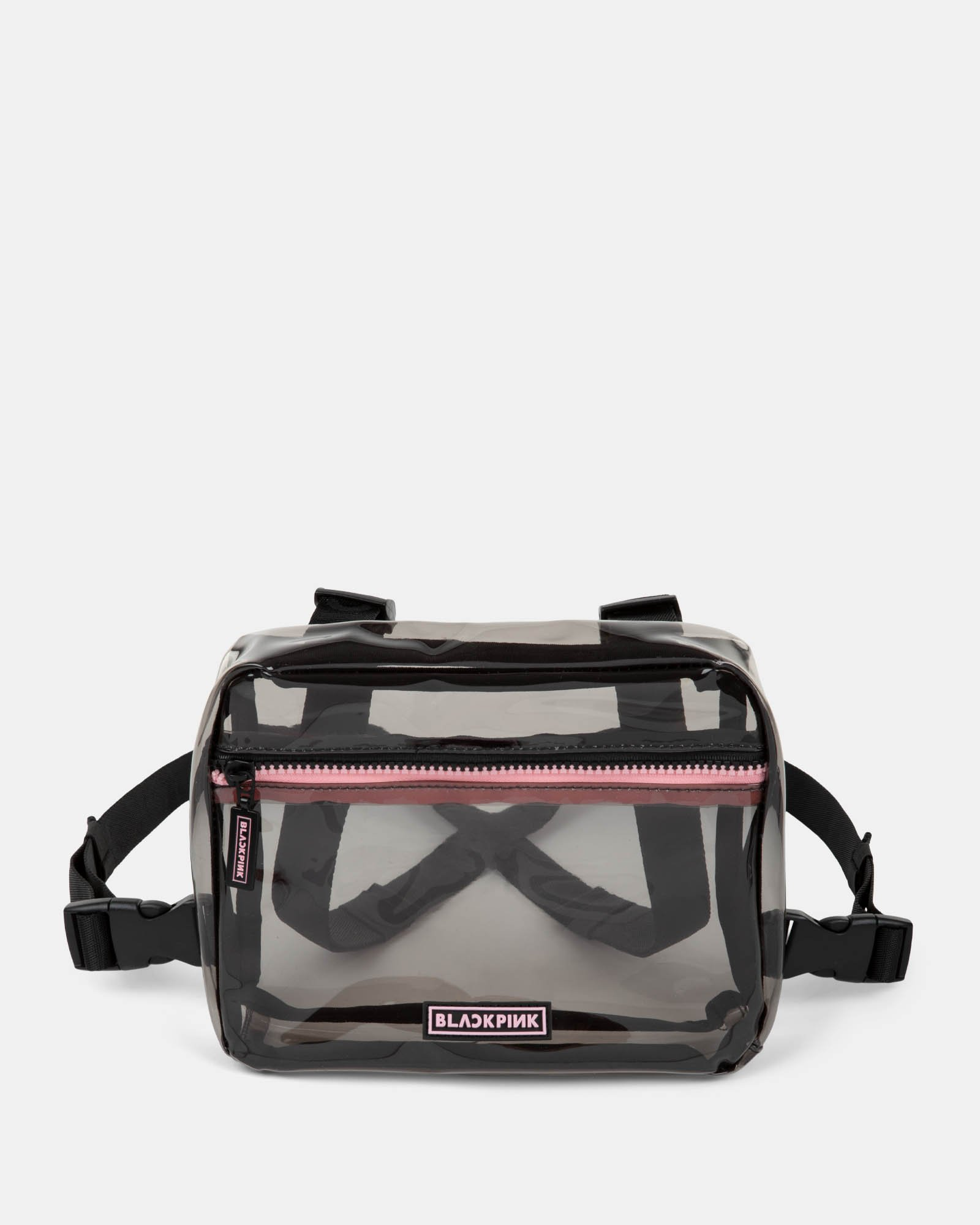 Blackpink - Clearly You Collection - black-tinted see-through frontal crossbody with a pink zipper - black - BLACKPINK - Zoom