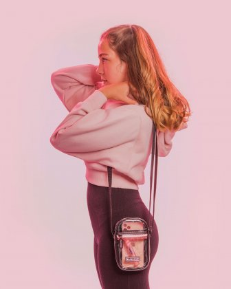 Blackpink - Clearly You Collection -Black-tinted see-through mobile case with pink zippers - Black - BLACKPINK