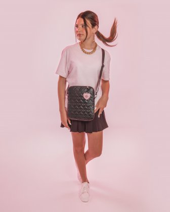 BLACKPINK - Be Still My Heart Collection - Crossbody bag with Padded main compartment with a top zippered opening, ideal to store your tablet- black - BLACKPINK