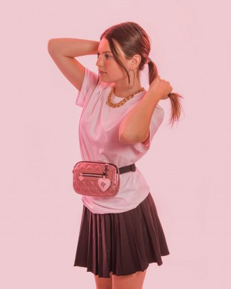 BLACKPINK - Be Still My Heart Collection - Money belt Soft, quilted pink material with a delicate heart-shaped pattern - pink BLACKPINK