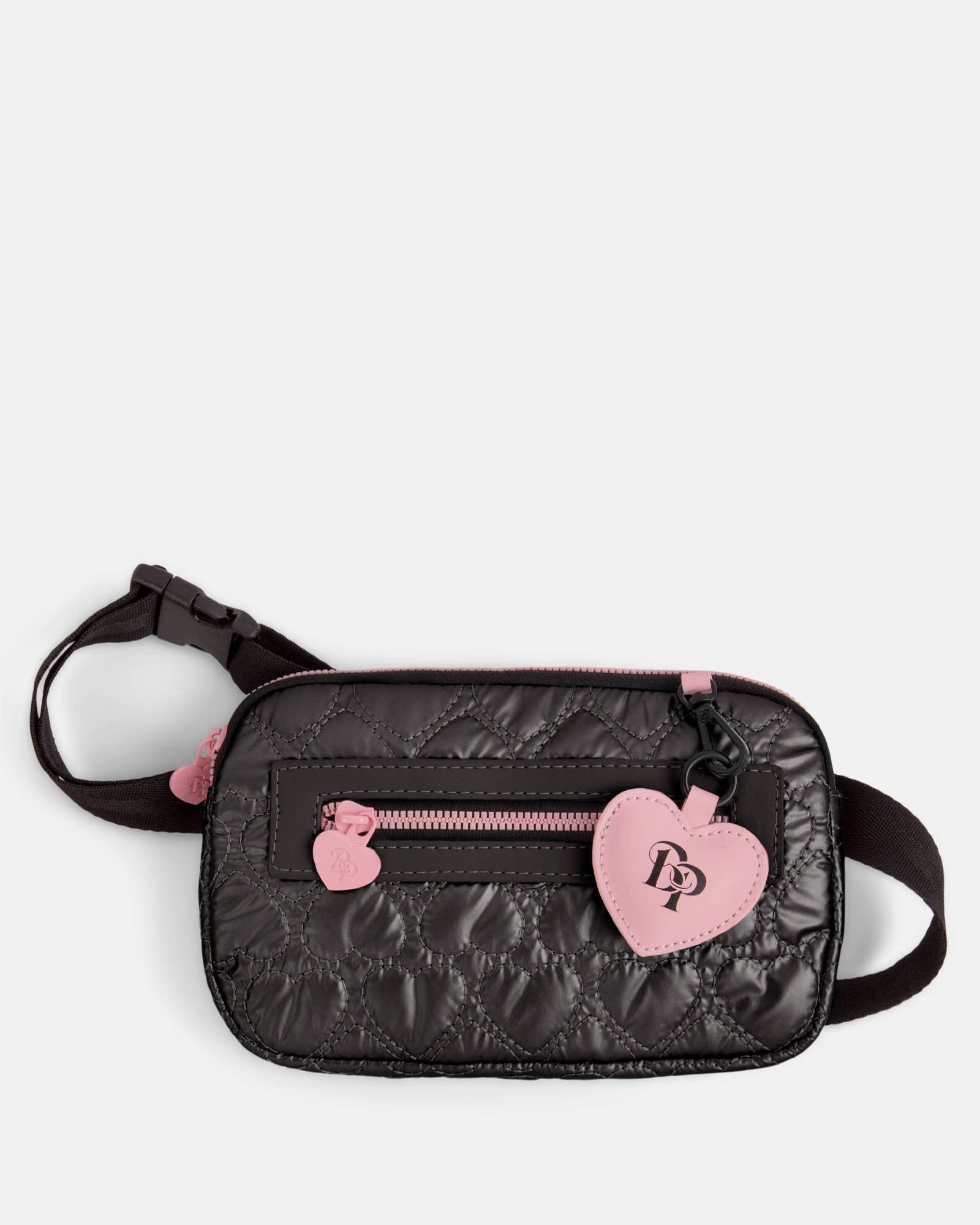 BLACKPINK - Be Still My Heart Collection - Money belt Soft, quilted pink material with a delicate heart-shaped pattern - black - BLACKPINK - Zoom