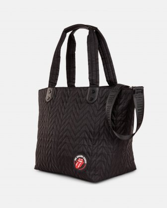 The Rolling Stones - Iconic Collection - Quilted Nylon Tote Bag with adjustable and removable strap - Black The Rolling Stones