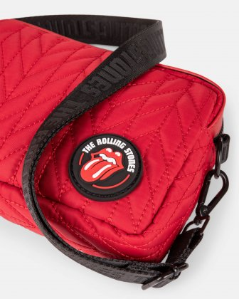 The Rolling Stones - Iconic Collection - Quilted Nylon Crossbody bag with adjustable strap - Red The Rolling Stones
